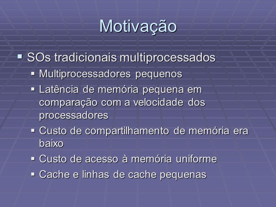 Motivação SOs tradicionais multiprocessados