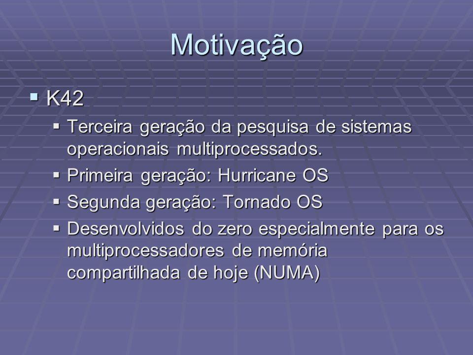 Motivação K42. Terceira geração da pesquisa de sistemas operacionais multiprocessados. Primeira geração: Hurricane OS.