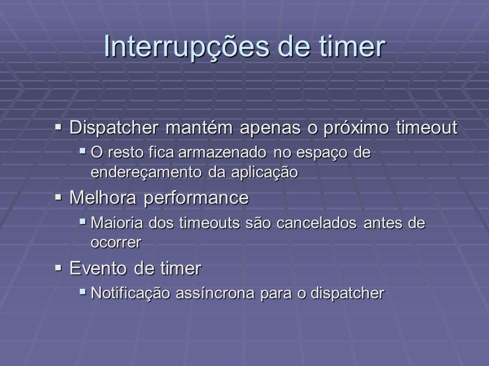 Interrupções de timer Dispatcher mantém apenas o próximo timeout