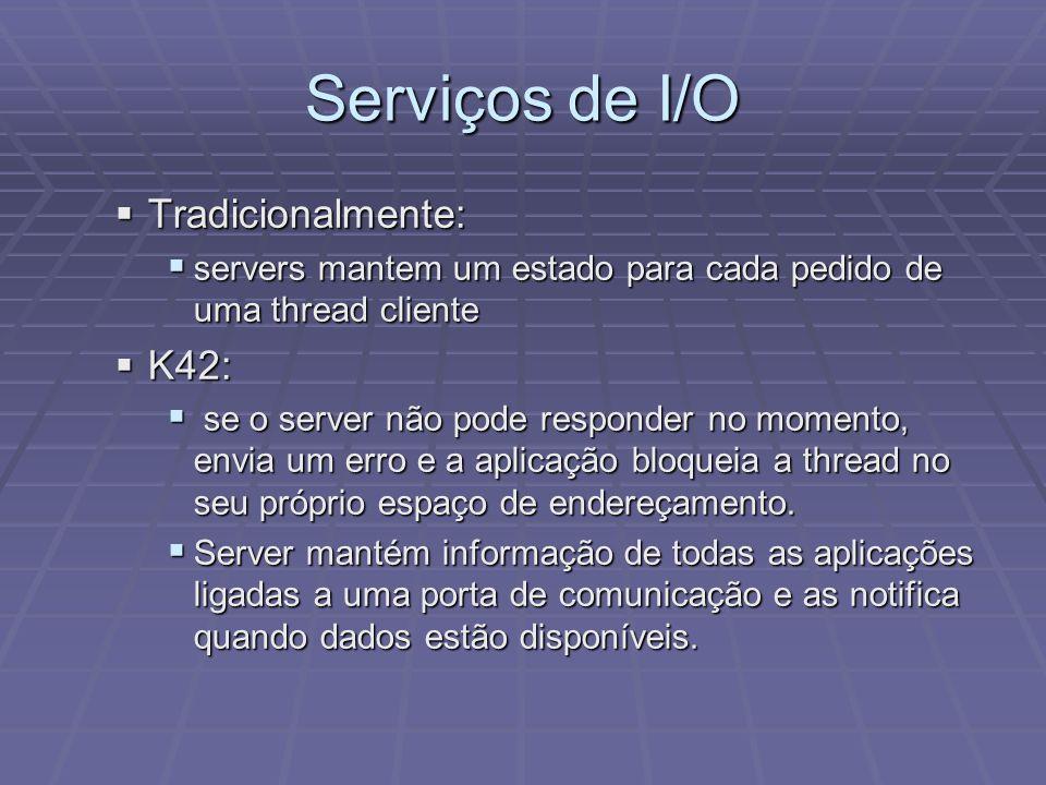 Serviços de I/O Tradicionalmente: K42: