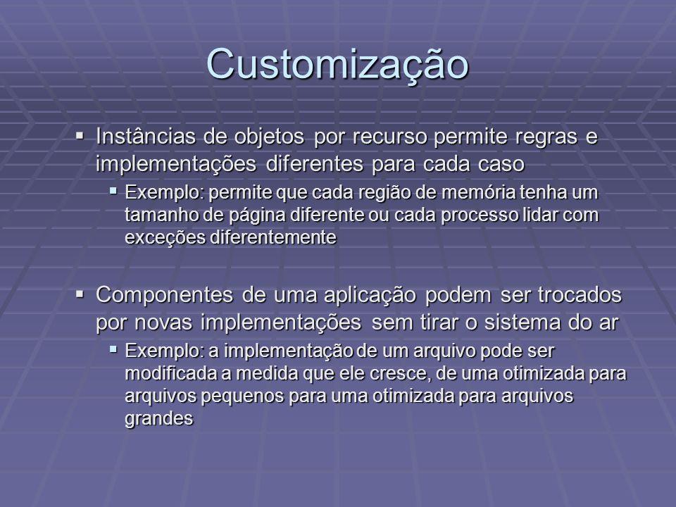 Customização Instâncias de objetos por recurso permite regras e implementações diferentes para cada caso.