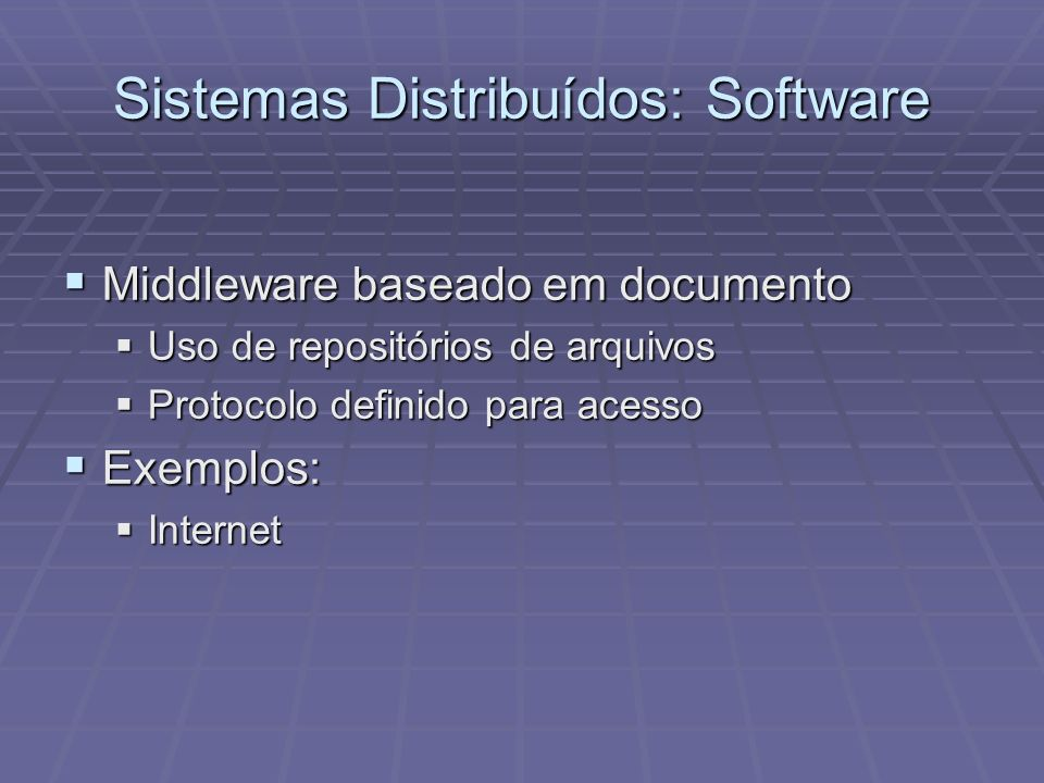Sistemas Distribuídos: Software