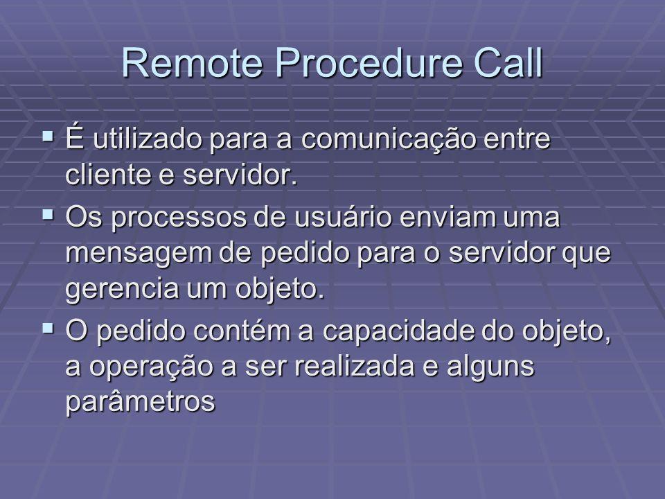 Remote Procedure Call É utilizado para a comunicação entre cliente e servidor.