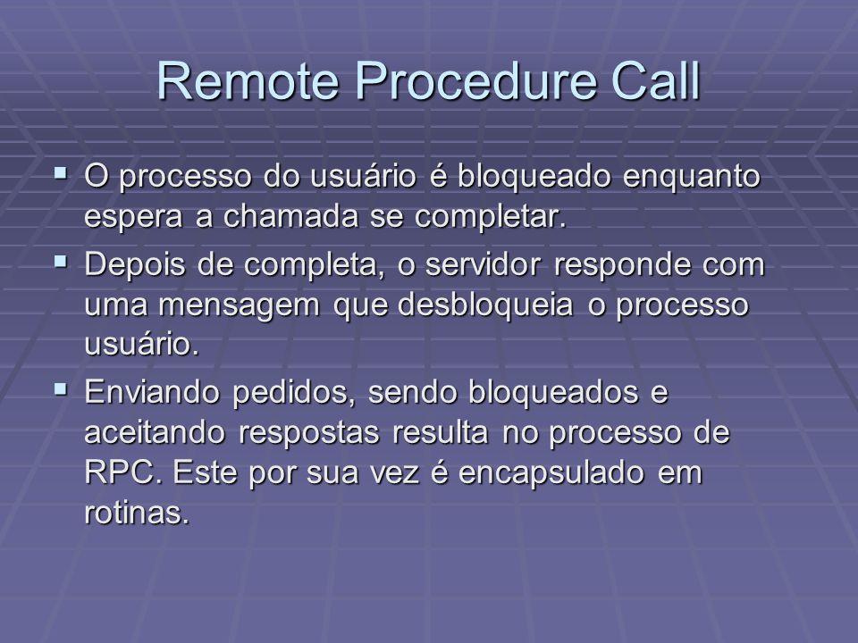 Remote Procedure Call O processo do usuário é bloqueado enquanto espera a chamada se completar.