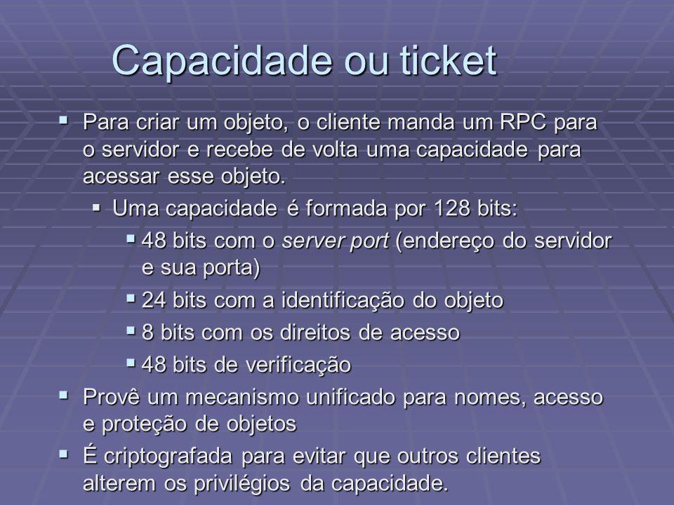 Capacidade ou ticket Para criar um objeto, o cliente manda um RPC para o servidor e recebe de volta uma capacidade para acessar esse objeto.