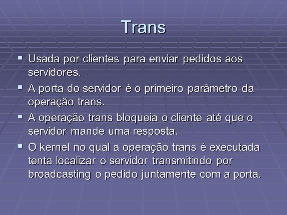 Trans Usada por clientes para enviar pedidos aos servidores.