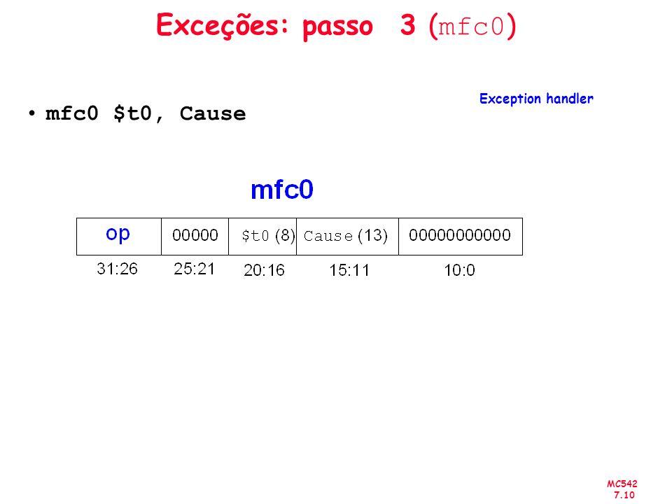 Exceções: passo 3 (mfc0) mfc0 $t0, Cause Exception handler