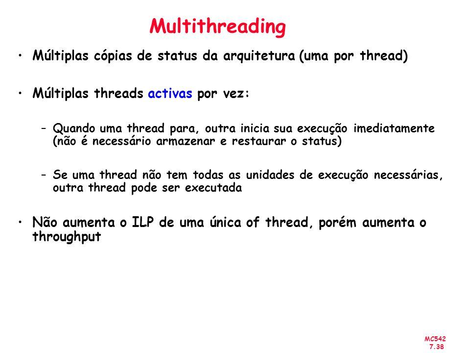 Multithreading Múltiplas cópias de status da arquitetura (uma por thread) Múltiplas threads activas por vez:
