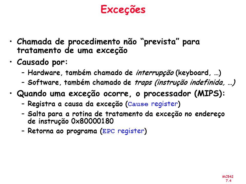 Exceções Chamada de procedimento não prevista para tratamento de uma exceção. Causado por: Hardware, também chamado de interrupção (keyboard, …)