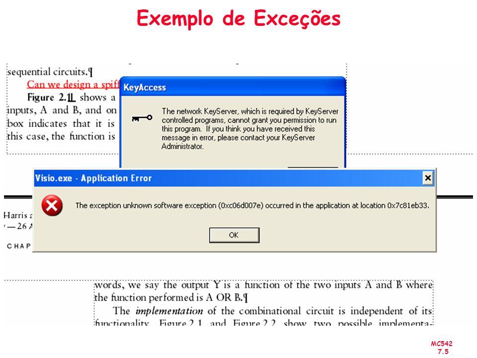 Exemplo de Exceções