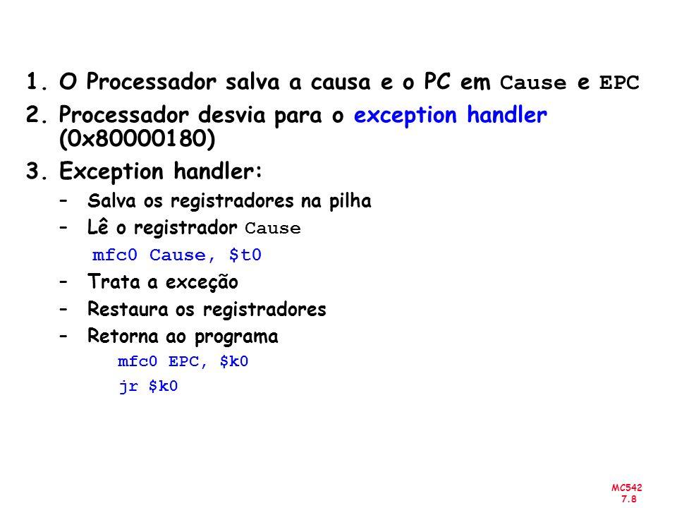 O Processador salva a causa e o PC em Cause e EPC