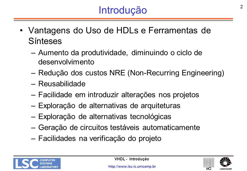 Introdução Vantagens do Uso de HDLs e Ferramentas de Sínteses