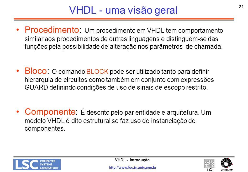 VHDL - uma visão geral 21.
