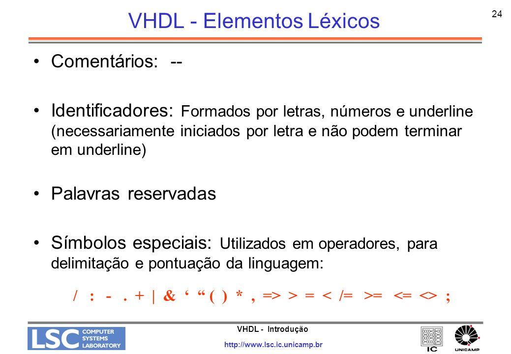 VHDL - Elementos Léxicos