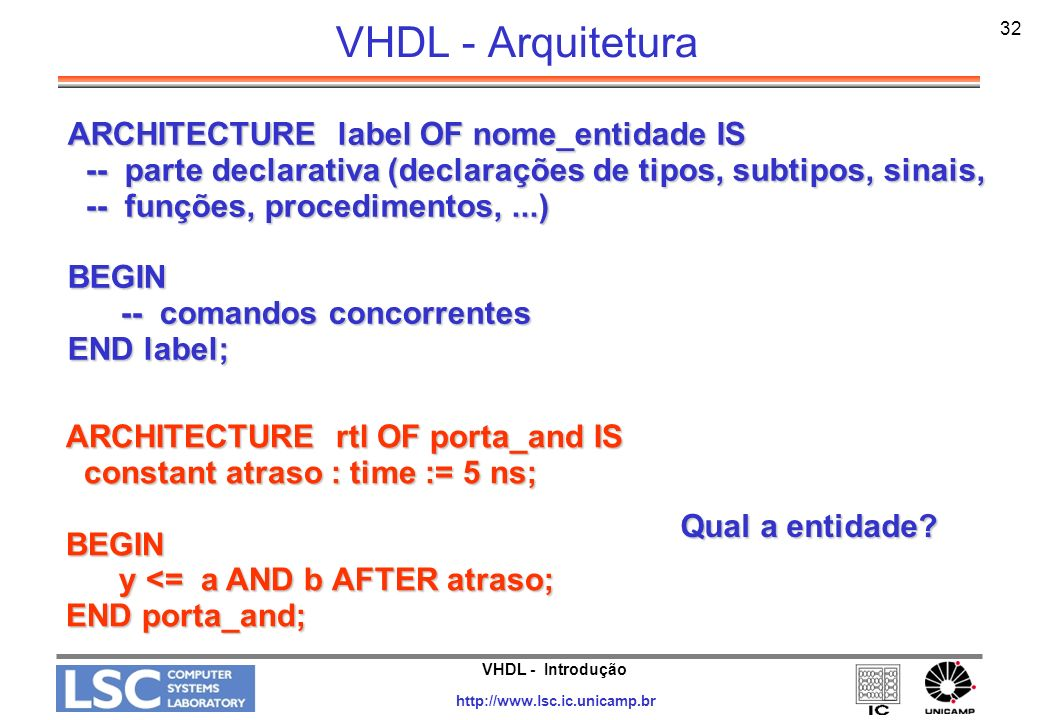 VHDL - Arquitetura ARCHITECTURE label OF nome_entidade IS