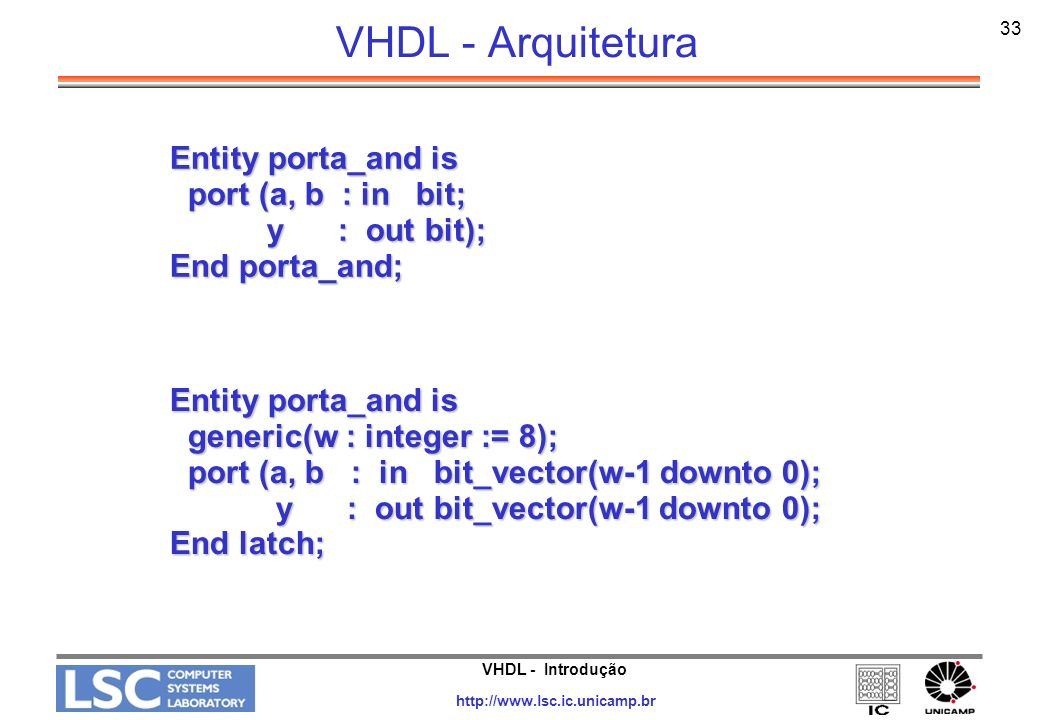 VHDL - Arquitetura Entity porta_and is port (a, b : in bit;