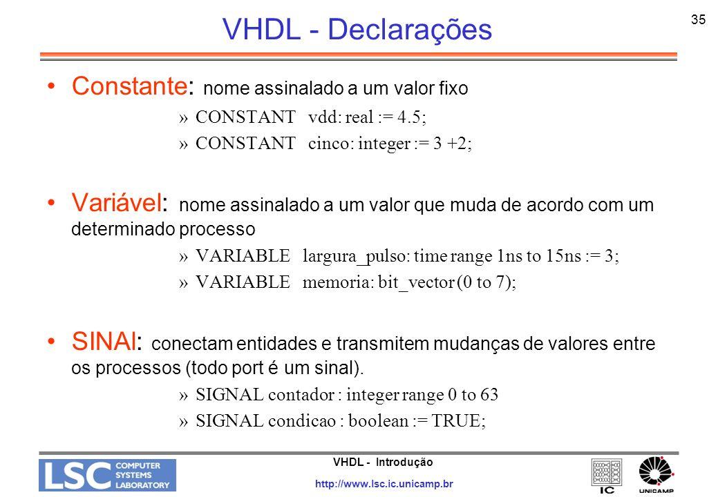 VHDL - Declarações Constante: nome assinalado a um valor fixo