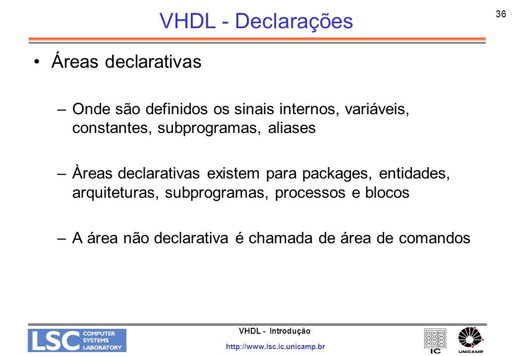 VHDL - Declarações Áreas declarativas