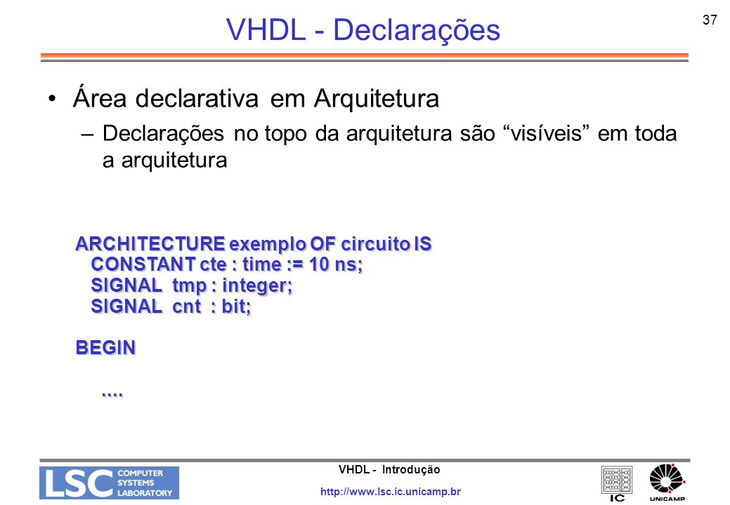 VHDL - Declarações Área declarativa em Arquitetura