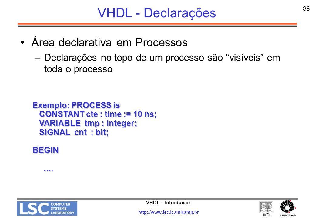 VHDL - Declarações Área declarativa em Processos