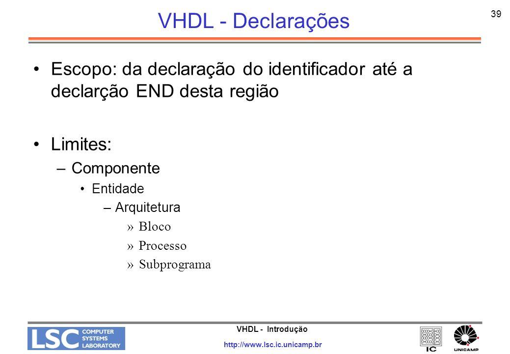 VHDL - Declarações 39. Escopo: da declaração do identificador até a declarção END desta região. Limites: