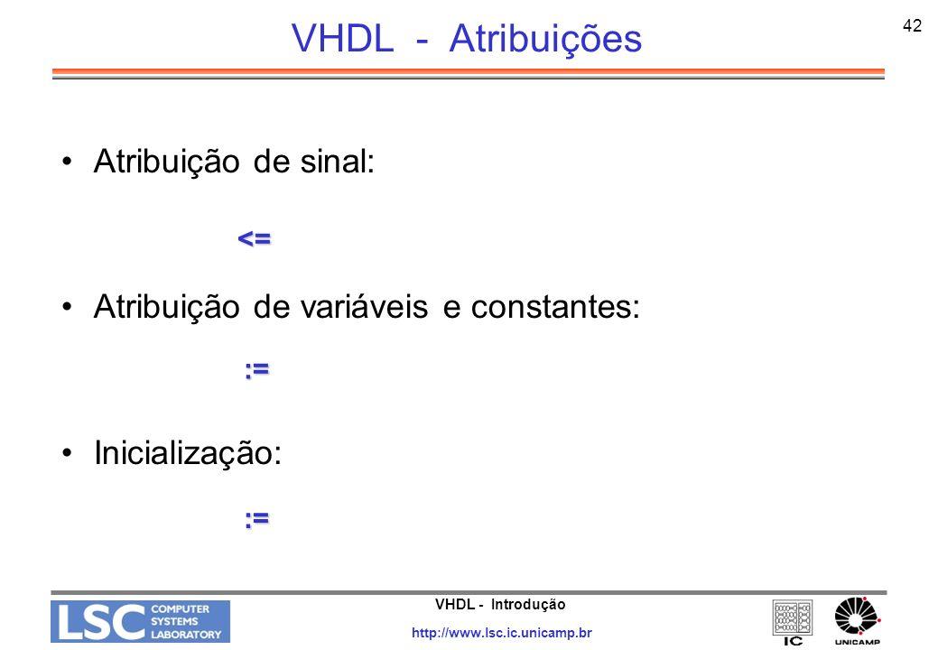 VHDL - Atribuições Atribuição de sinal: