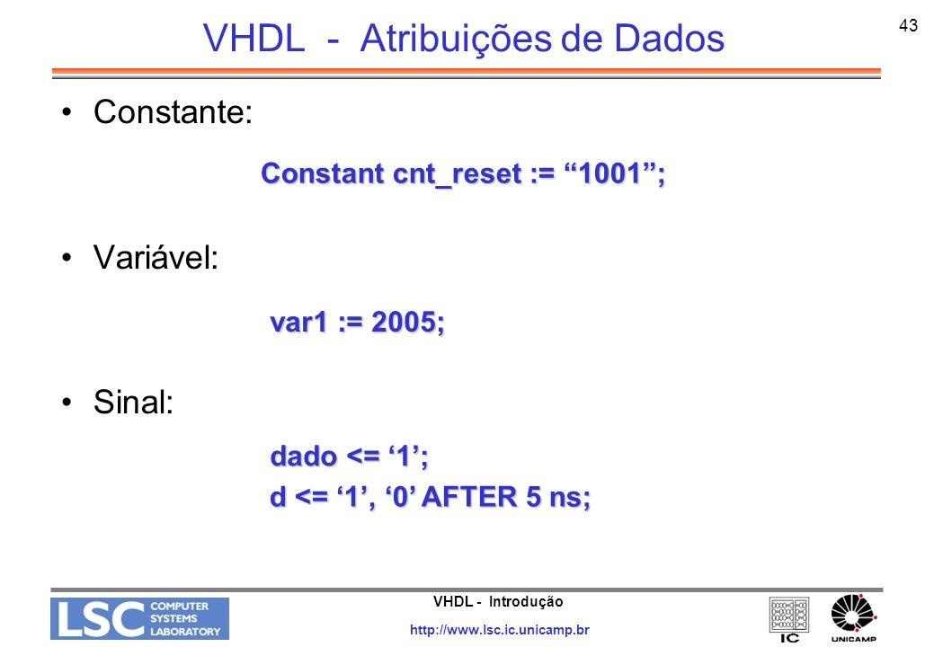 VHDL - Atribuições de Dados