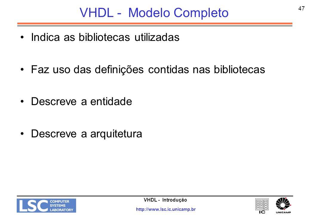 VHDL - Modelo Completo Indica as bibliotecas utilizadas