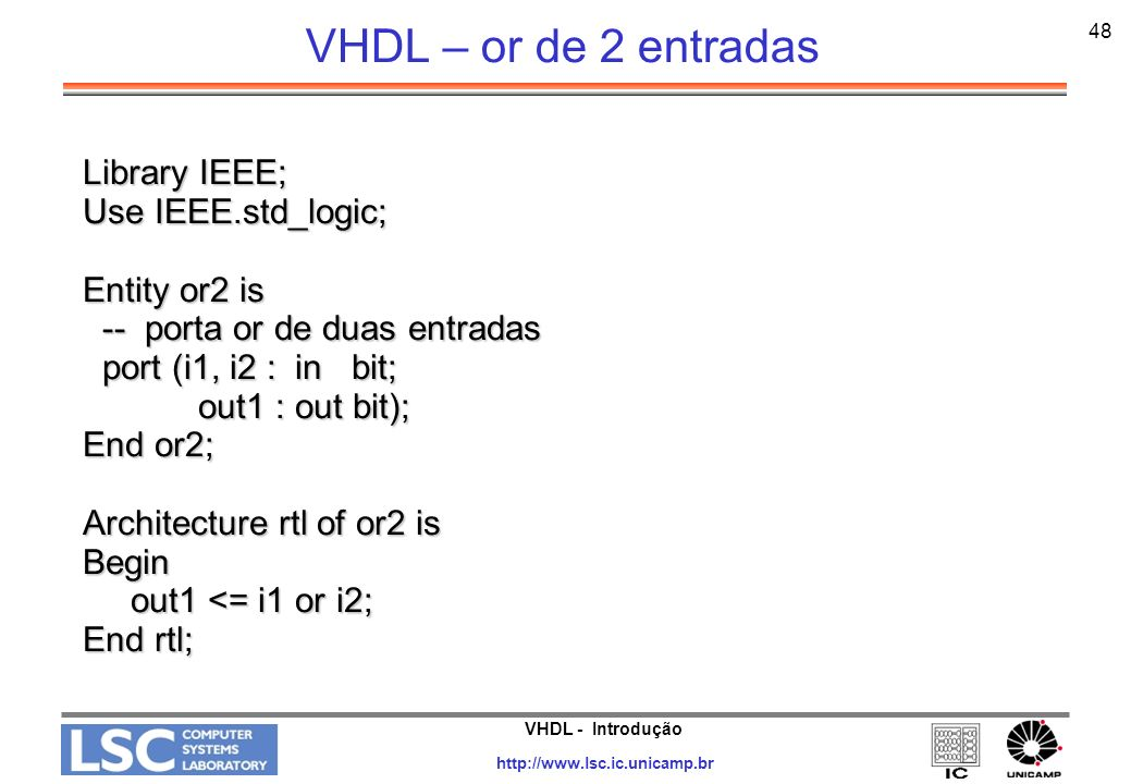 VHDL – or de 2 entradas Library IEEE; Use IEEE.std_logic;