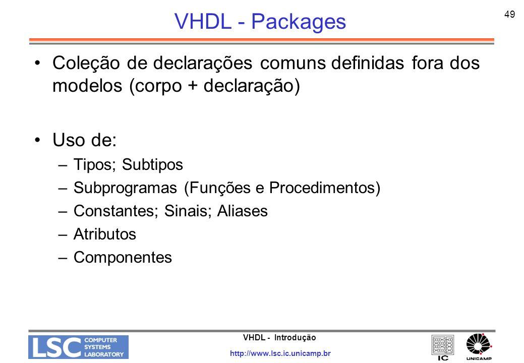 VHDL - Packages 49. Coleção de declarações comuns definidas fora dos modelos (corpo + declaração) Uso de: