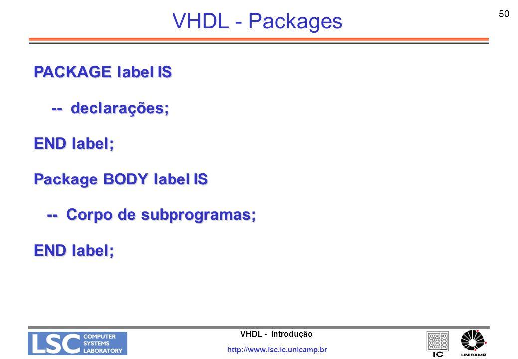 VHDL - Packages PACKAGE label IS -- declarações; END label;