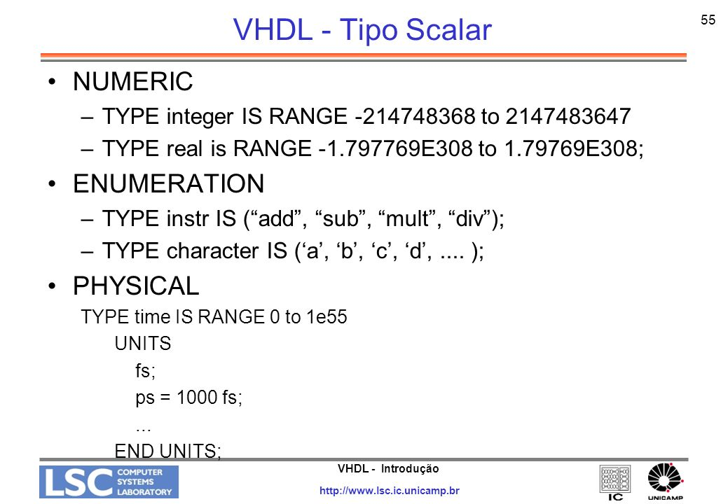 VHDL - Tipo Scalar NUMERIC ENUMERATION PHYSICAL