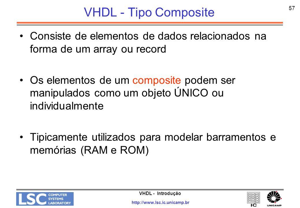 VHDL - Tipo Composite 57. Consiste de elementos de dados relacionados na forma de um array ou record.