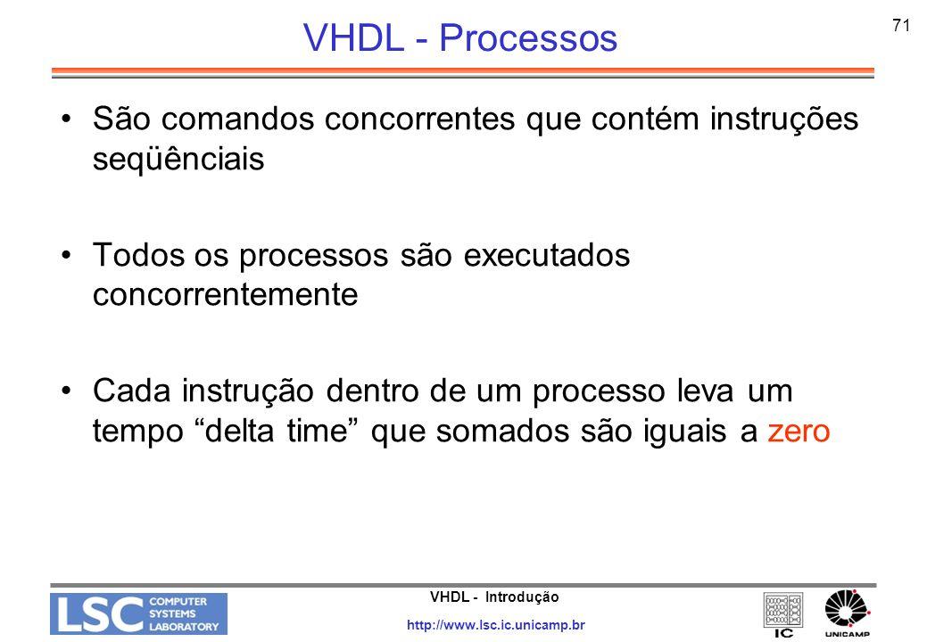 VHDL - Processos 71. São comandos concorrentes que contém instruções seqüênciais. Todos os processos são executados concorrentemente.