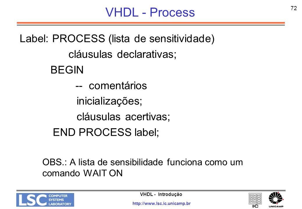 VHDL - Process Label: PROCESS (lista de sensitividade)