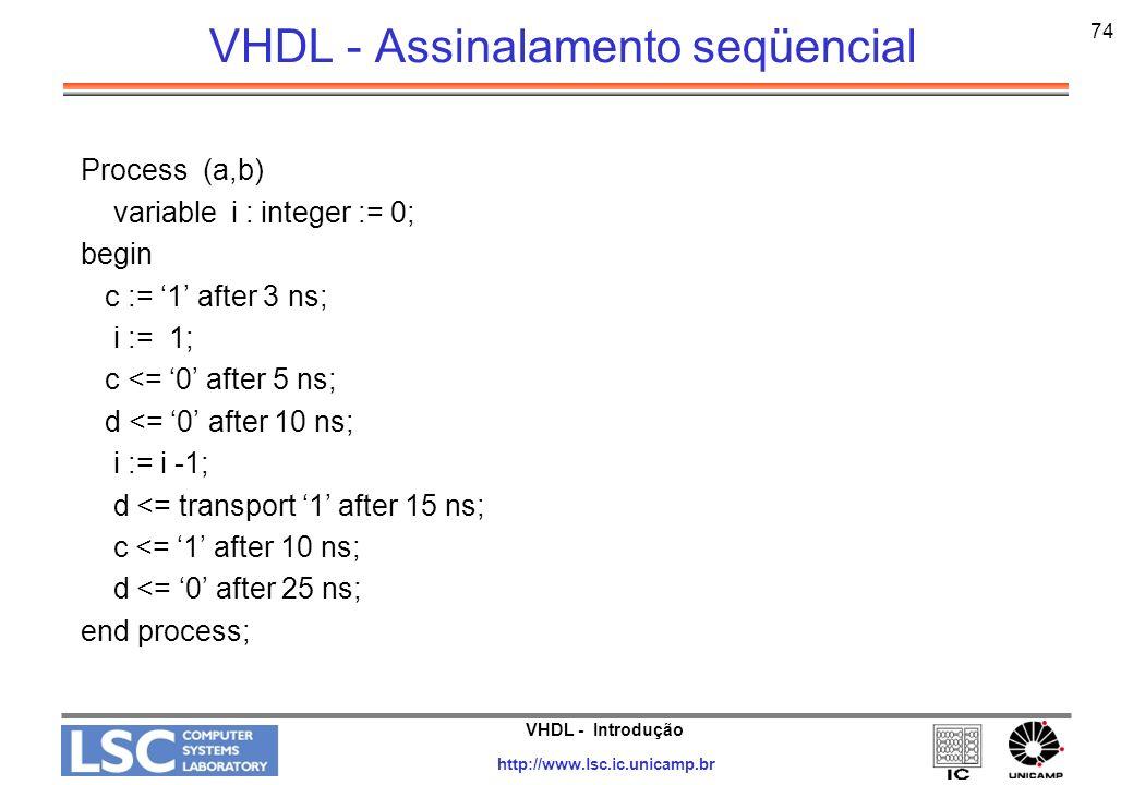 VHDL - Assinalamento seqüencial
