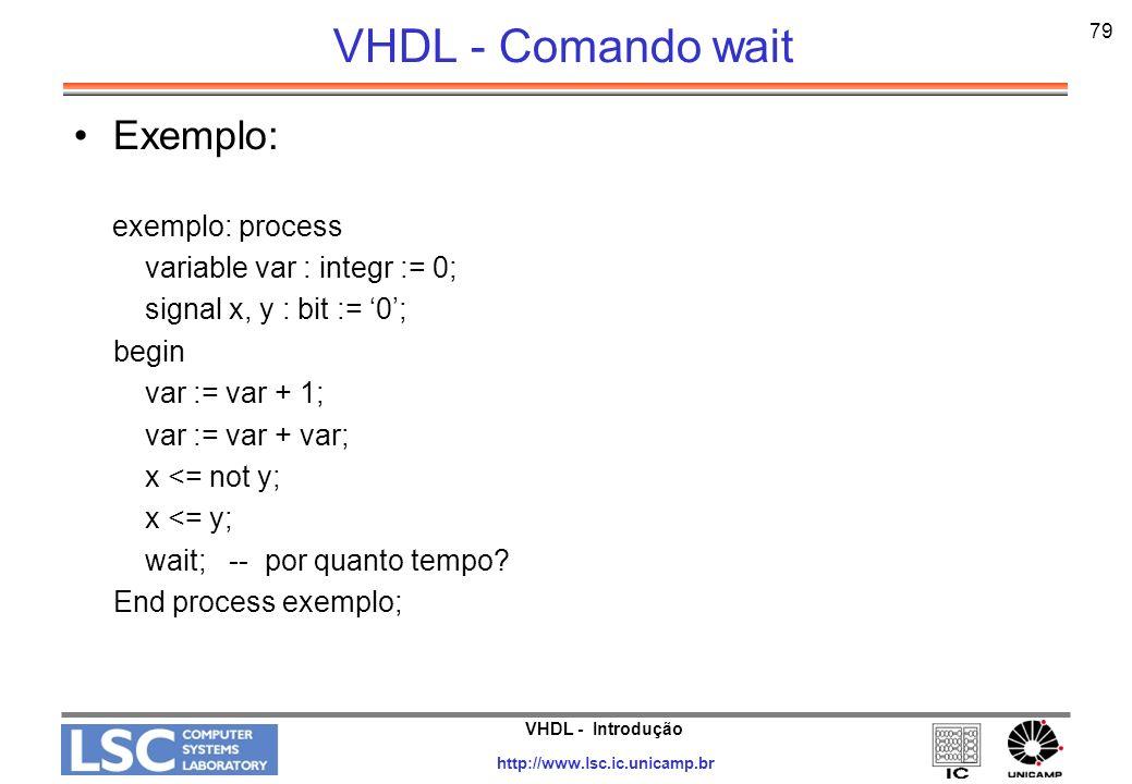 VHDL - Comando wait Exemplo: exemplo: process