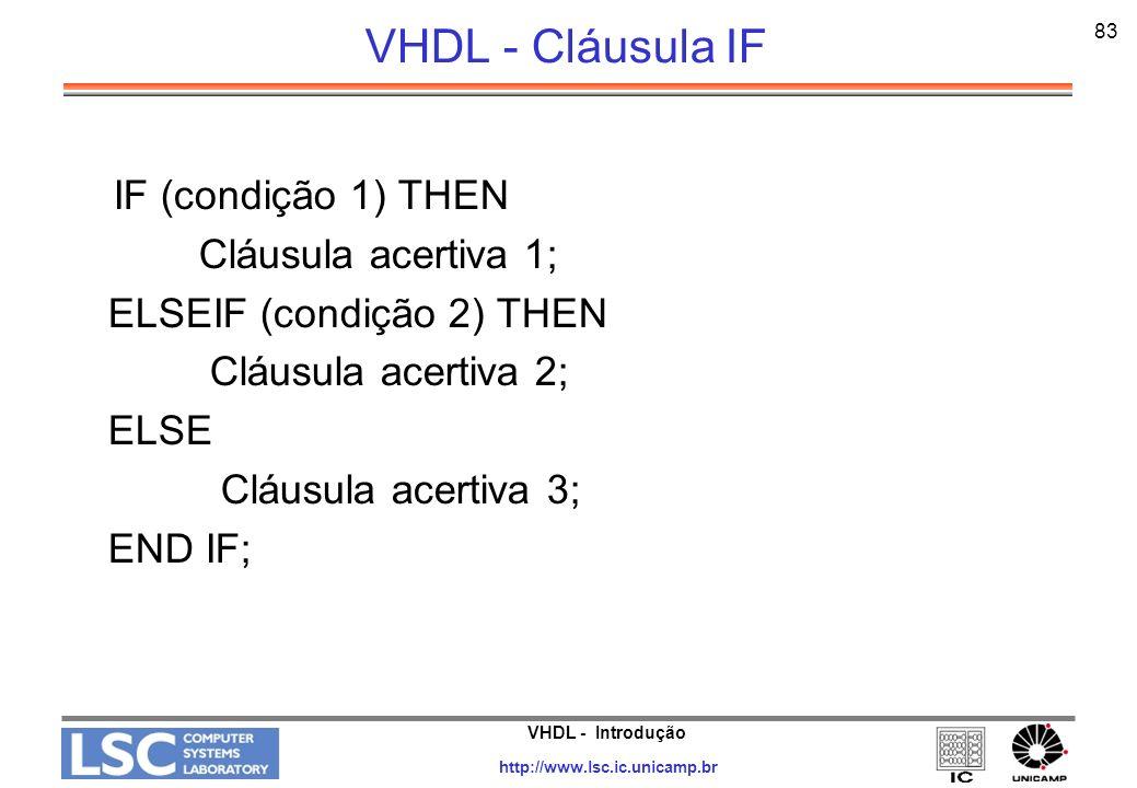 VHDL - Cláusula IF IF (condição 1) THEN Cláusula acertiva 1;