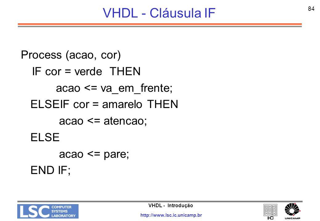 VHDL - Cláusula IF Process (acao, cor) IF cor = verde THEN
