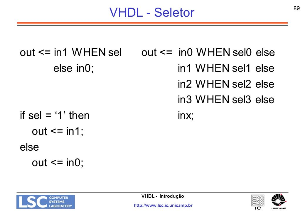 VHDL - Seletor out <= in1 WHEN sel else in0; if sel = '1' then