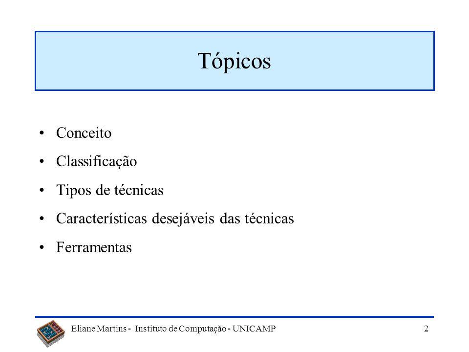 Tópicos Conceito Classificação Tipos de técnicas