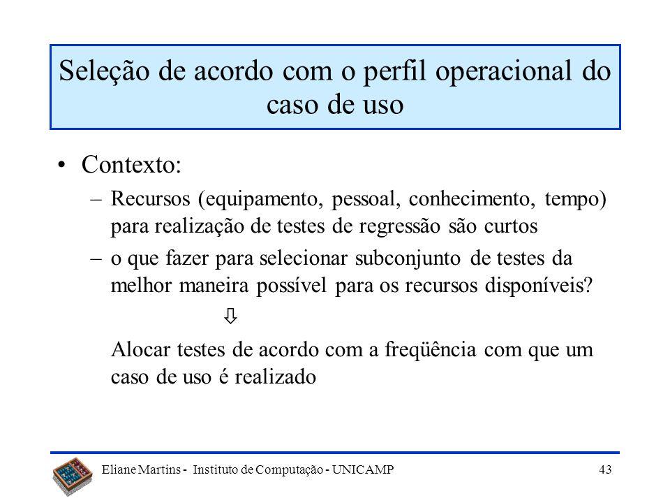 Seleção de acordo com o perfil operacional do caso de uso