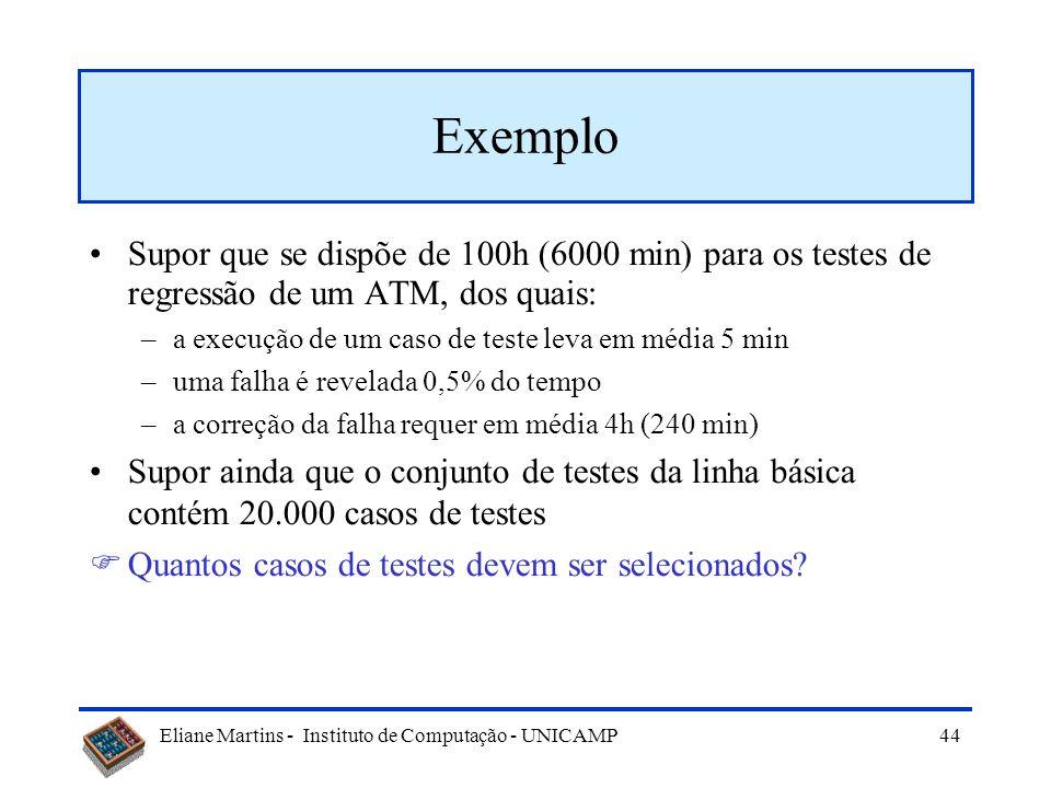Exemplo Supor que se dispõe de 100h (6000 min) para os testes de regressão de um ATM, dos quais: a execução de um caso de teste leva em média 5 min.