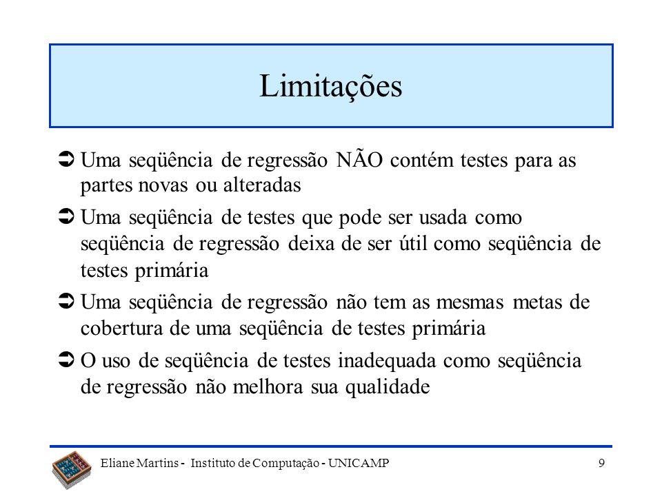 Limitações Uma seqüência de regressão NÃO contém testes para as partes novas ou alteradas.