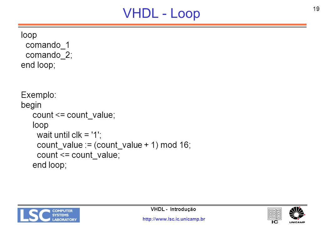 VHDL - Loop loop comando_1 comando_2; end loop; Exemplo: begin
