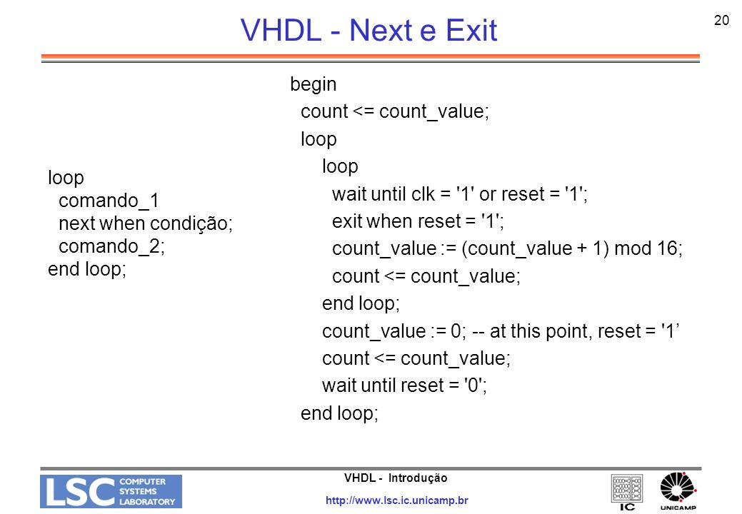 VHDL - Next e Exit begin count <= count_value; loop