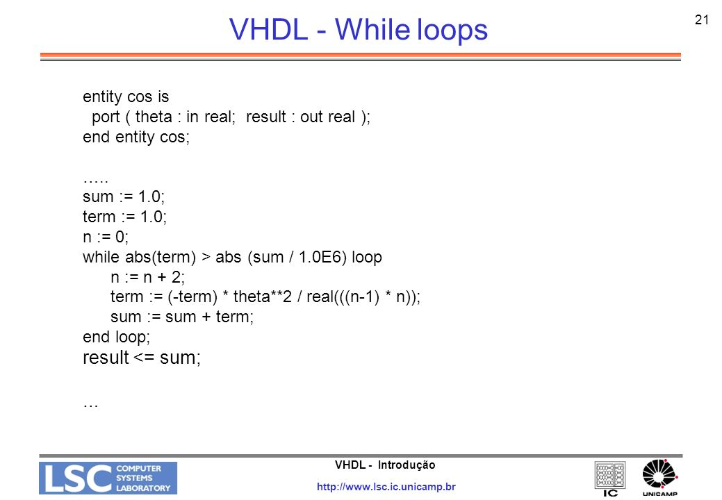 VHDL - While loops result <= sum; entity cos is