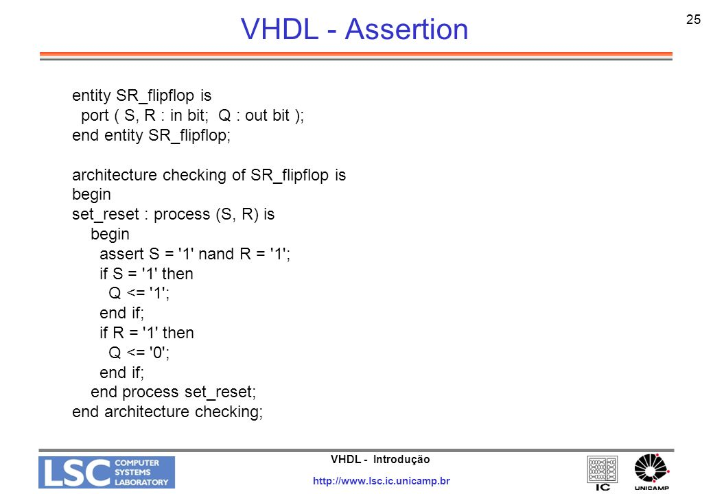 VHDL - Assertion entity SR_flipflop is