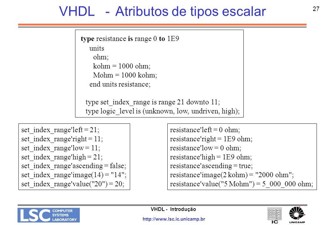 VHDL - Atributos de tipos escalar