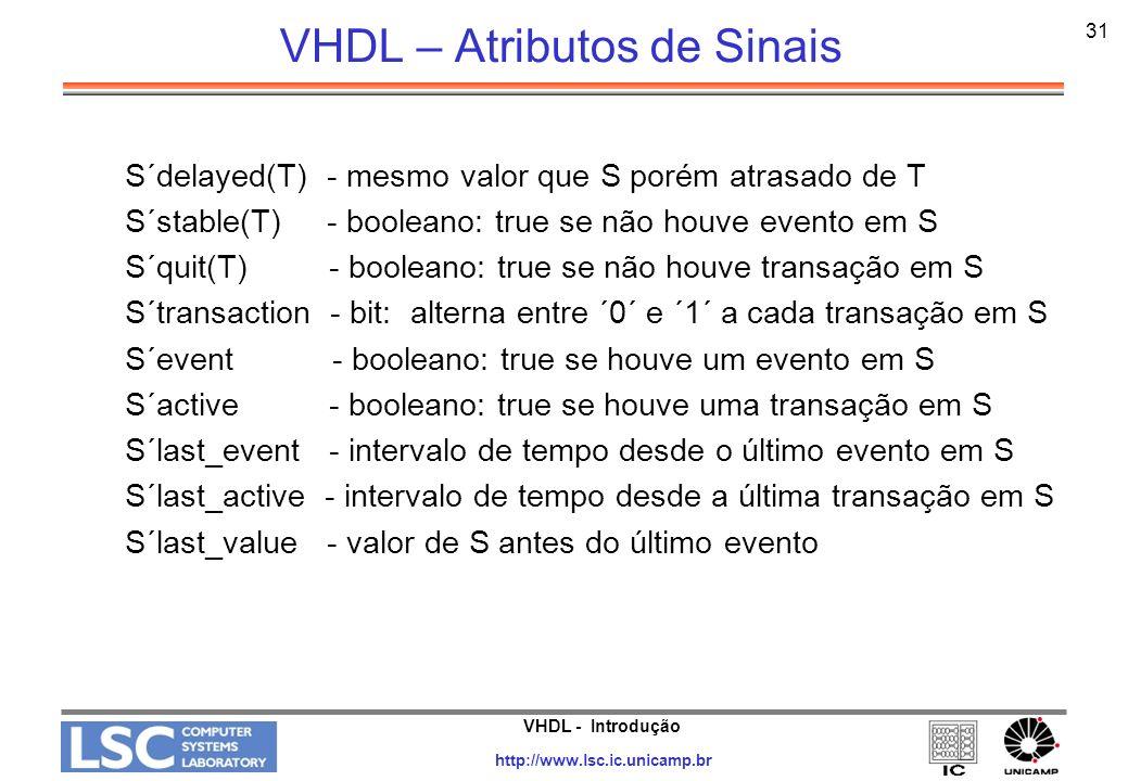 VHDL – Atributos de Sinais